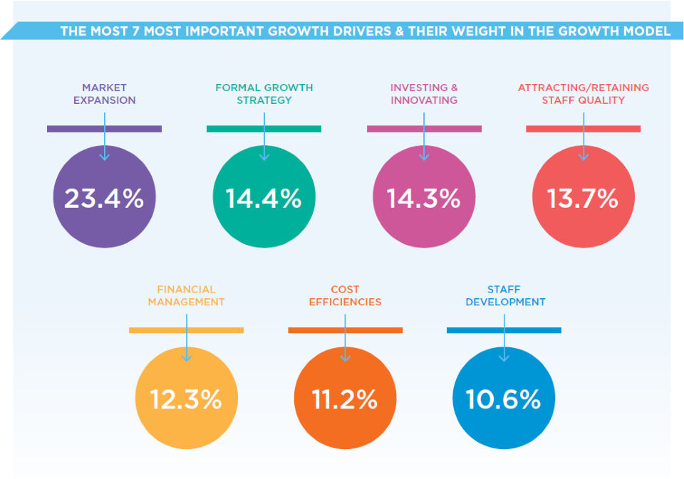 Graphic showing 7 most important growth drivers for mid sised buisinesses