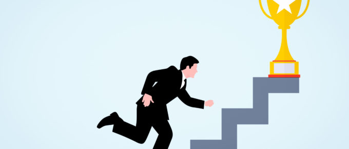 Graphic of suited businessman running up stairs to a golden trophy